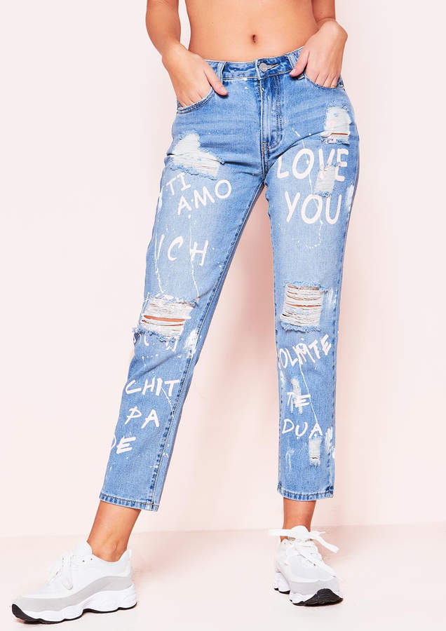 Ever New Sarah Denim Pink Distressed Self Love Mom Jeans