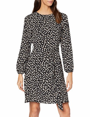 Dorothy Perkins Women's Non Print Pleat Neck Fit and Flare Party Dress