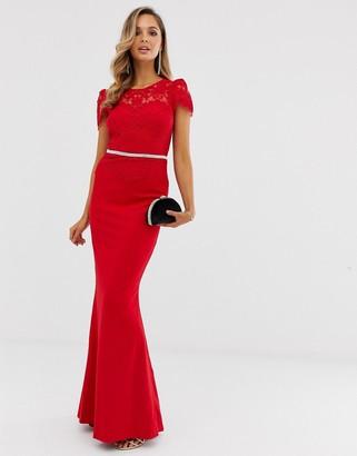 City Goddess scallop maxi dress-Red