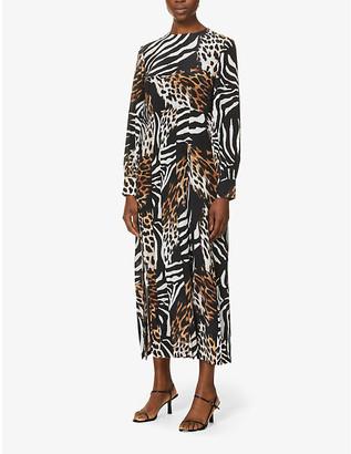 Rixo Emma animal-print silk midi dress