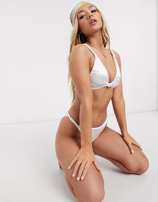 ASOS DESIGN twist detail crop bikini top in white mirror satin