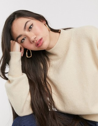 And other stories & high neck jumper in beige