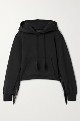 Amiri Fringed Cotton-terry Hoodie - Black