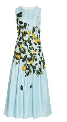 Oscar de la Renta Pleated Lemon-Print Silk Midi Dress