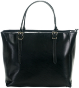Black Double-Buckle Leather Tote