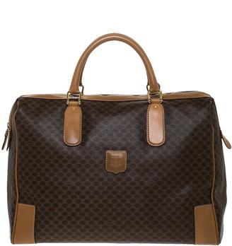 Celine Brown Macadam Coated Canvas and Leather Weekender Bag