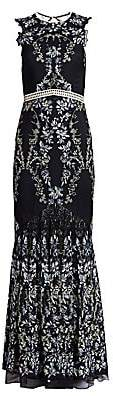 ML Monique Lhuillier Women's Floral Lace Gown