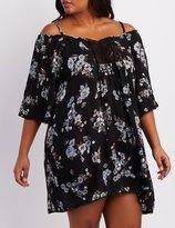 Charlotte Russe Plus Size Floral Cold Shoulder Shift Dress