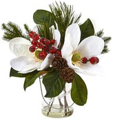 Nearly Natural White Magnolia, Pine, and Berry Holiday Arrangement in Glass Vase