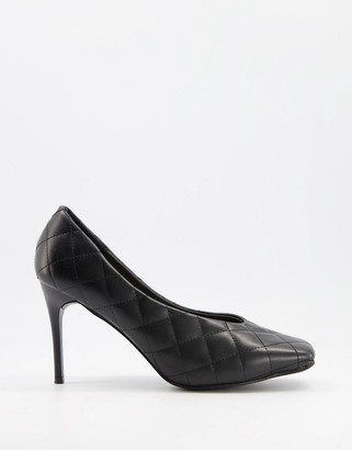 Truffle Collection quilted heeled shoes with square toe in black