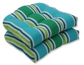 Pillow Perfect Aruba Stripe Wicker Seat Cushion, Set of 2