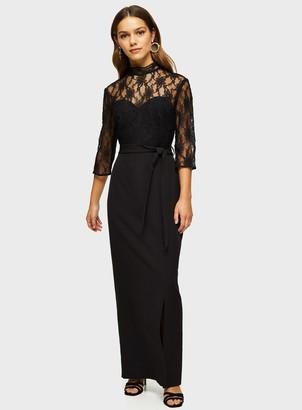 Miss Selfridge PETITE Black Lace Body Maxi Dress