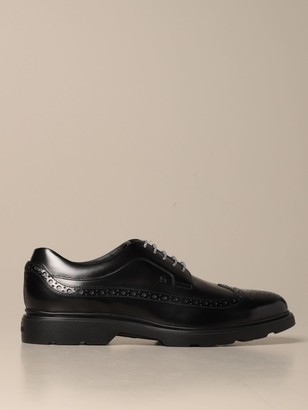 Hogan Brogue Shoes H393 Derby In Brushed Leather