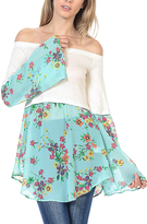 Bellino Ivory & Sky Blue Floral Sheer-Overlay Off-Shoulder Top