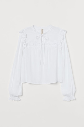 H&M Ruffle-trimmed Blouse - White