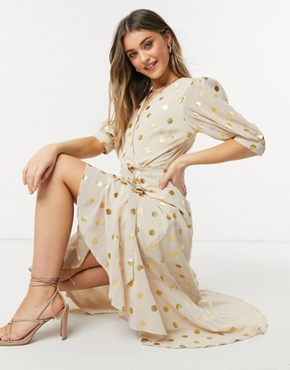 Forever U wrap tie midi dress with gold metallic spot print in cream and gold