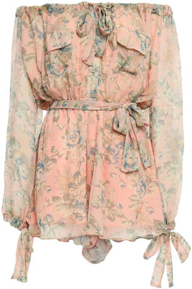 Zimmermann Off-the-shoulder Floral-print Silk-georgette Playsuit