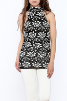 Julian Chang Black Floral Sleeveless Top