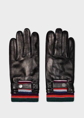 Paul Smith Men's Black Leather Gloves With Striped Wool Cuffs