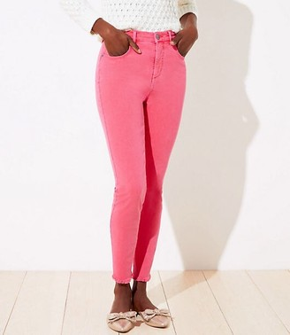 LOFT Petite High Waist Slim Pocket Skinny Jeans in Blushing Pink