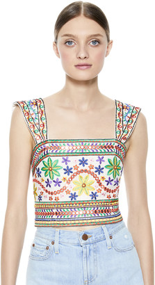 Alice + Olivia Esme Sequin Cropped Tank Top