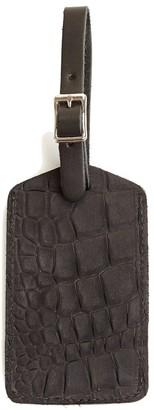 Graf Lantz Travel Tag Black Embossed Leather
