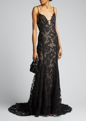 Monique Lhuillier Lace Embroidered Pleated Mermaid Gown