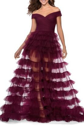 La Femme Off the Shoulder Sheer Tulle Ballgown
