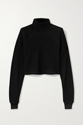 The Range - Cropped Waffle-knit Stretch-cotton Turtleneck Top - Black