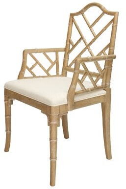 Worlds Away Linen Upholstered Arm Chair Frame Color: Brown