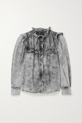 Etoile Isabel Marant Idety Oversized Ruffled Acid-wash Denim Shirt - Gray