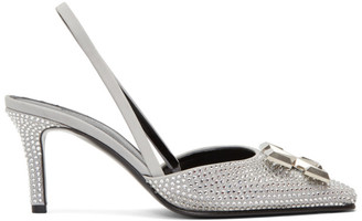 Off-White Grey Crystal Arrows Slingback Mules