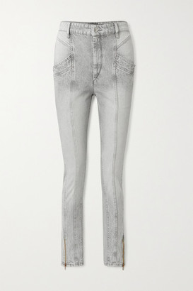 Isabel Marant Kelissa Paneled High-rise Straight-leg Jeans - Gray