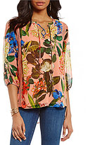 Gibson & Latimer Floral Printed Lace-Up Peasant Blouse