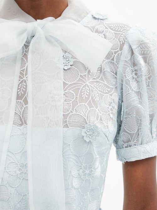 Thumbnail for your product : Self-Portrait Pussy-bow Floral-embroidered Organza Dress - Light Blue