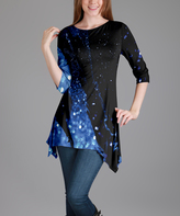 Lily Black & Blue Geometric Sidetail Tunic - Plus Too