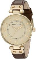 Anne Klein 109168IVBN Round Dial Leather Strap Watch Analog Watches