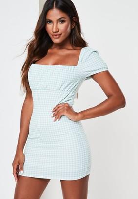 Missguided Sage Gingham Milkmaid Mini Dress