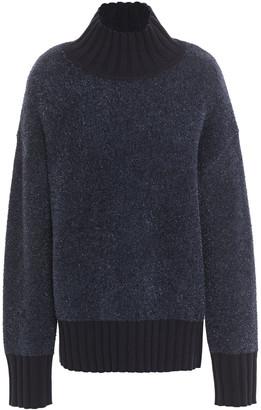 Tory Burch Oversized Metallic Merino Wool-blend Turtleneck Sweater