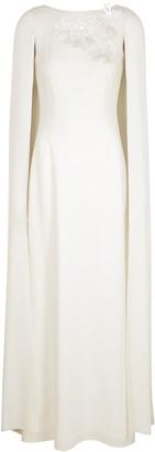 Paule Ka White Embellished Cape-effect Gown