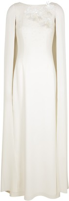 Paule Ka White embellished cape-effect gown