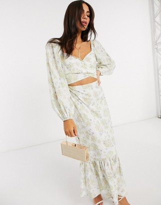 ASOS DESIGN wrap front midi dress in floral printed broderie