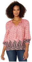 Lucky Brand Giselle Ruffle Print Peasant Top (Pink Multi) Women's Clothing