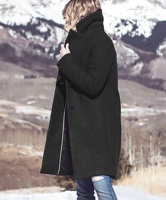 Tahari Women's Car Coats LAPIS - Black Button Boucle Overcoat - Women