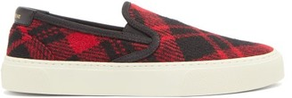 Saint Laurent Venice Tartan Wool-canvas Slip-on Trainers - Black Red