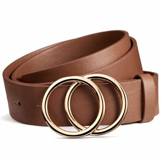 BROMEN Womens Belt Fashion Leather Belts for Jeans Dress Pants with Gold Double O-Ring Buckle Gold