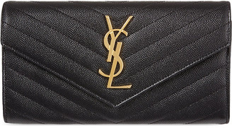 Saint Laurent Womens Black Quilted Monogrammed Leather Wallet