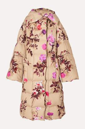 Dries Van Noten Recabis Oversized Floral-print Quilted Shell Down Coat - Beige