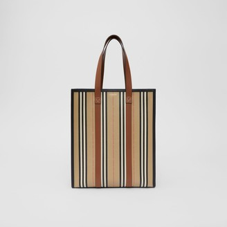 Burberry Logo and Stripe E-canvas Portrait Tote Bag