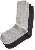Neiman Marcus Two-Pair Cashmere-Blend Socks, Gray/Heather Gray